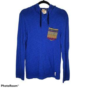 Koto Blue Long Sleeve Hooded Pocket Front T-Shirt